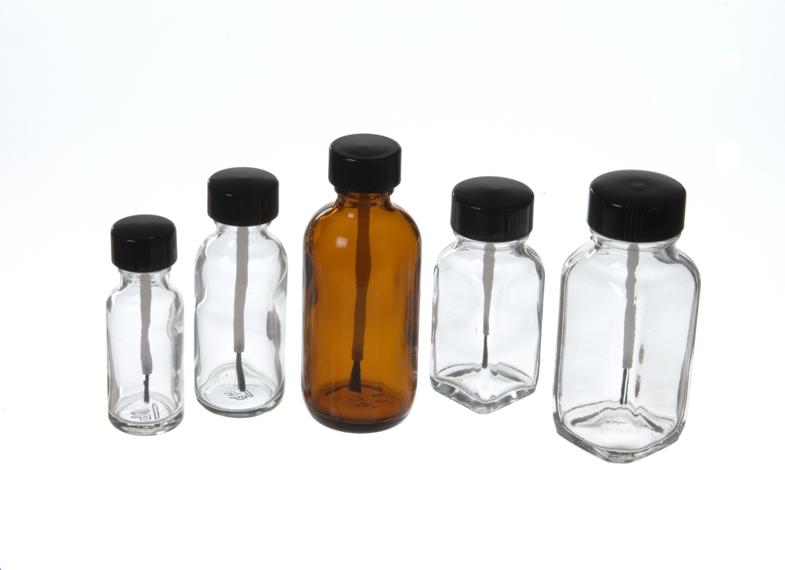 Boston Round Bottles with Brush Caps