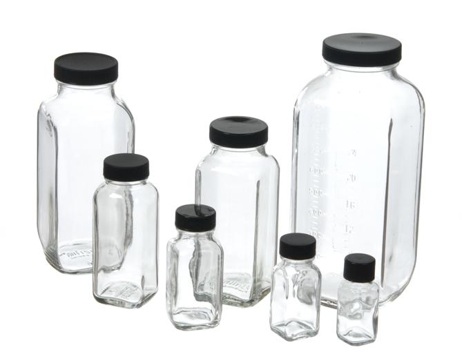Glass Jar 2 oz Flint French Square Jar